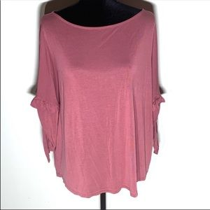 LOFT Outlet Rose Pink Ruffle Sleeve Blouse